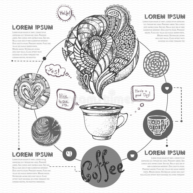 Bosquejo decorativo de la taza de café o de té Diseño del menú del café stock de ilustración