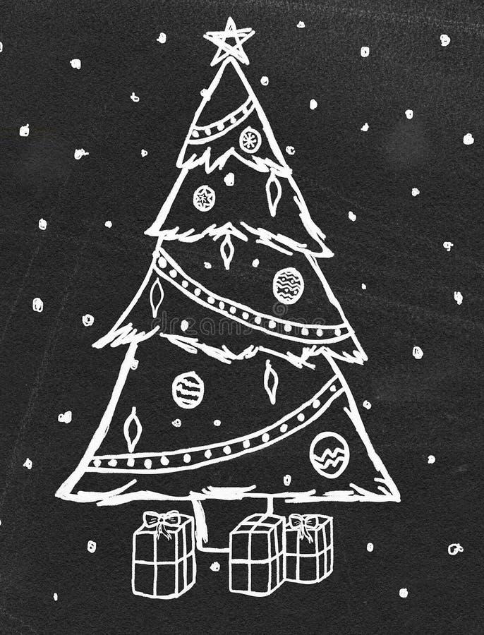 Bosquejo del árbol de navidad en la pizarra stock de ilustración