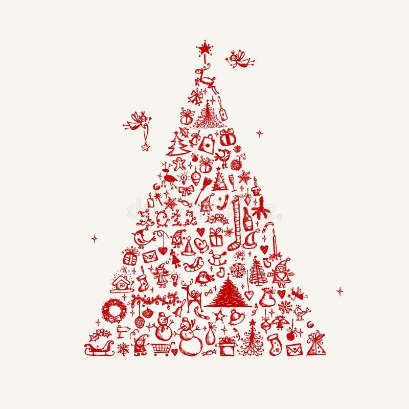 Bosquejo del árbol de navidad para su diseño libre illustration