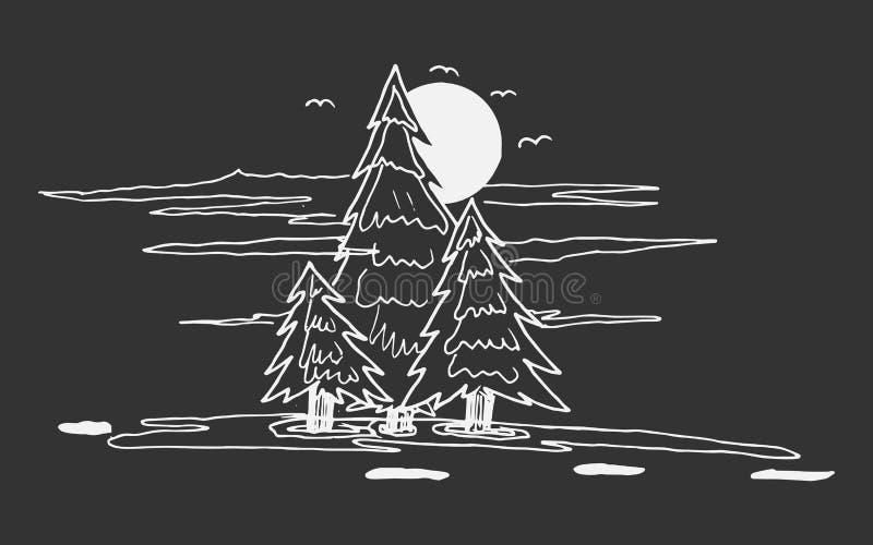 Bosquejo del árbol de pino libre illustration
