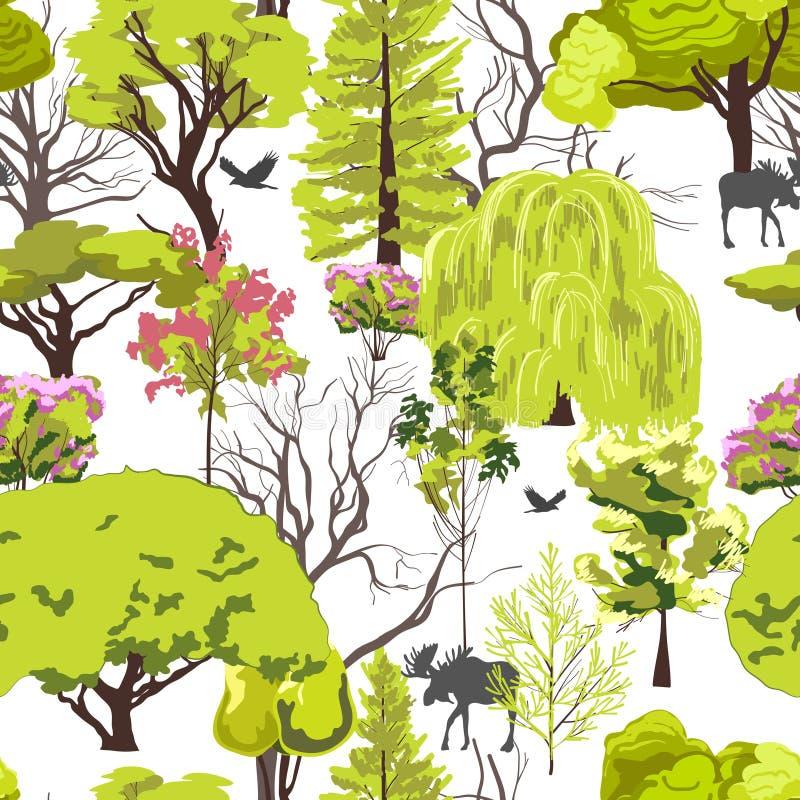 Download Bosquejo Del árbol Forestal Inconsútil Ilustración del Vector - Ilustración de frontera, deciduous: 42435929