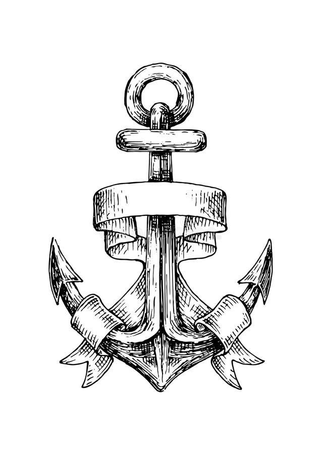 Bosquejo del ancla náutica retra con la bandera ondulada stock de ilustración