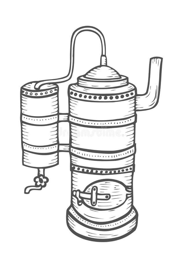 Bosquejo del aparato de la destilación stock de ilustración