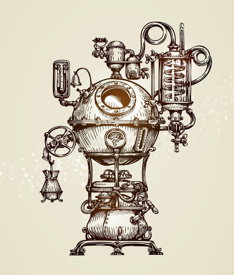 Bosquejo del aparato de la destilación del vintage Ejemplo Moonshining del vector ilustración del vector
