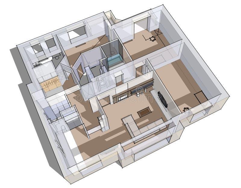 bosquejo del apartamento 3d stock de ilustración