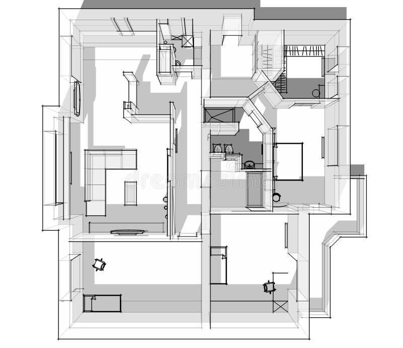 bosquejo del apartamento 3d libre illustration