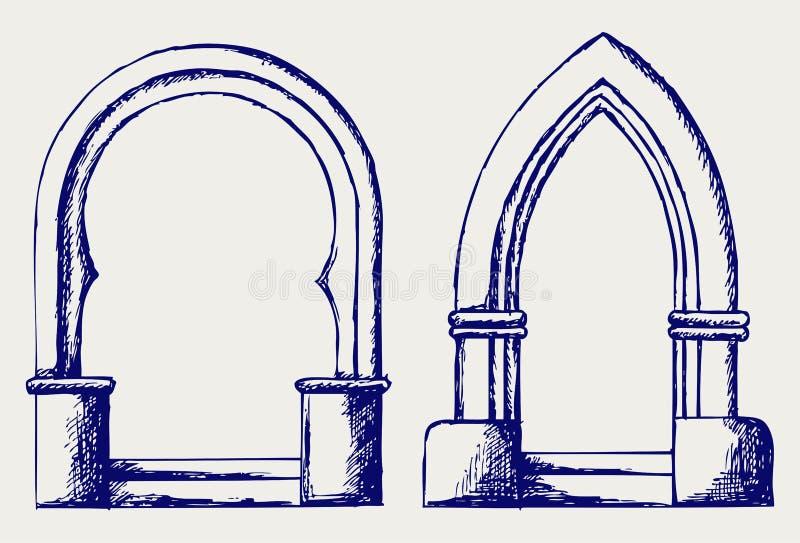 Bosquejo del arco stock de ilustración