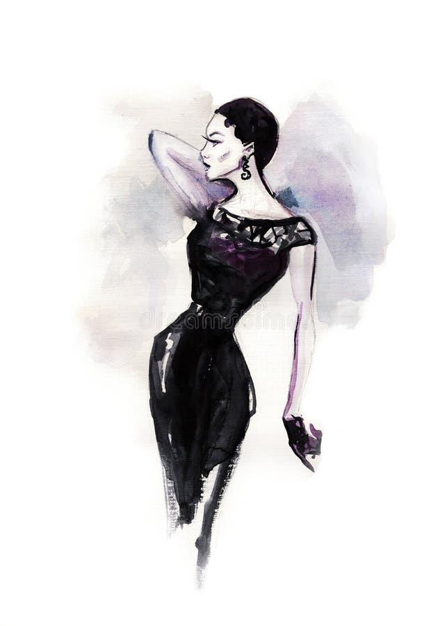 bosquejo del arte de jóvenes hermosos Retrato al aire libre de la moda de la mujer elegante hermosa que lleva el vestido de lujo  libre illustration