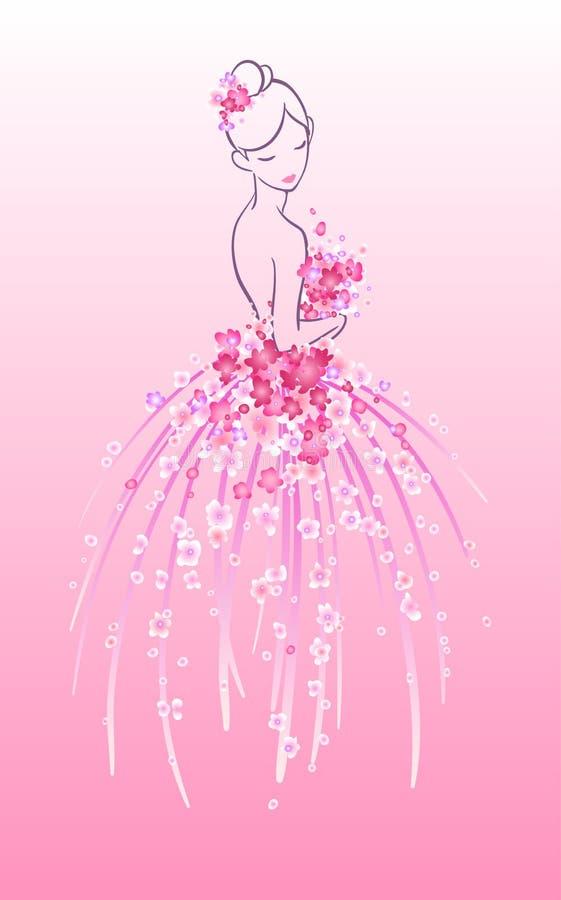 Bosquejo Del Arte De La Novia Con Las Flores Rosadas Ilustración del ...