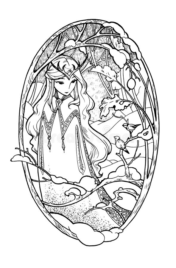 Bosquejo del arte de la señora de hadas en invierno stock de ilustración