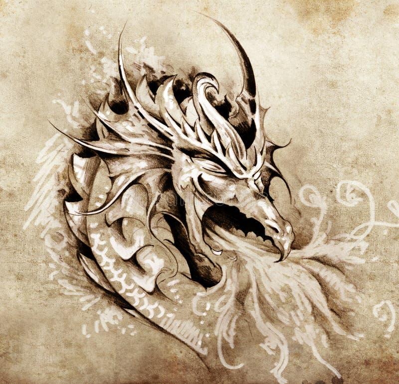 Bosquejo del arte del tatuaje, dragón de la cólera con el fuego blanco stock de ilustración
