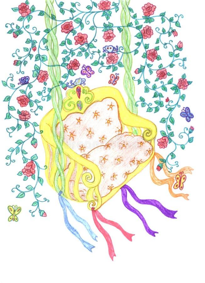 Bosquejo del balancín entre las ramificaciones florales libre illustration
