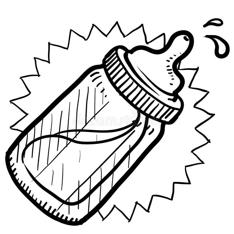 Bosquejo del biberón ilustración del vector