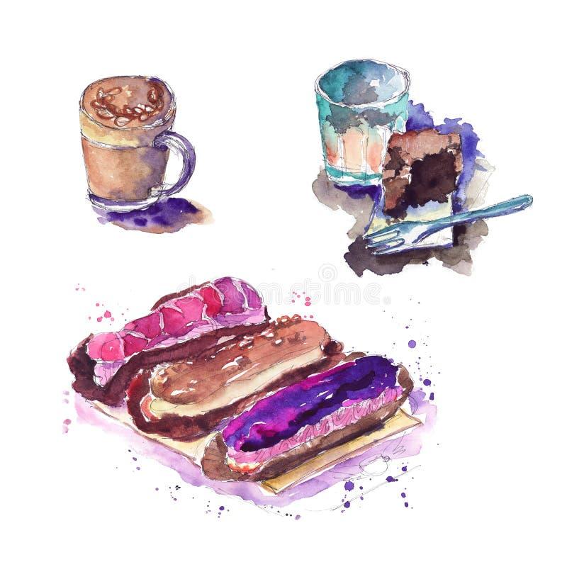 bosquejo del café de la torta en café ilustración del vector