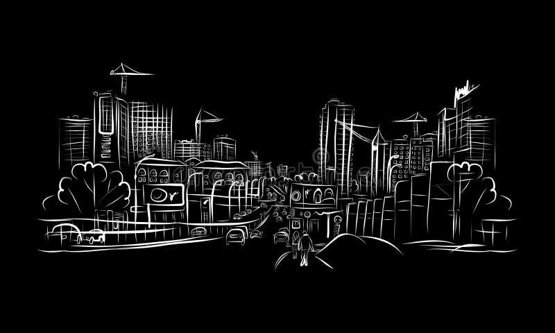 Bosquejo Del Camino Del Tráfico En La Ciudad Para Su Diseño Imagen de archivo libre de regalías