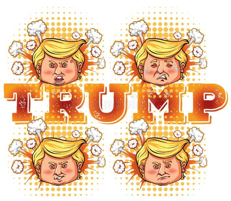 Bosquejo del carácter del presidente triunfo de los E.E.U.U. stock de ilustración