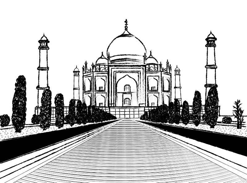 Bosquejo del carbón de leña del templo del Taj Mahal en el fondo blanco libre illustration