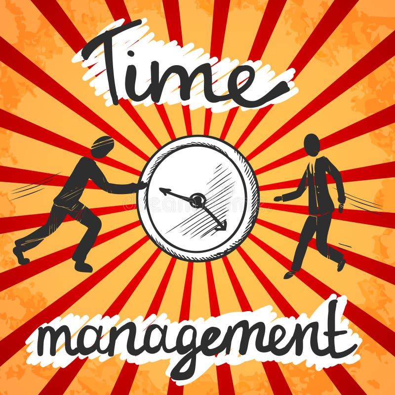 Bosquejo del cartel de la gestión de tiempo stock de ilustración