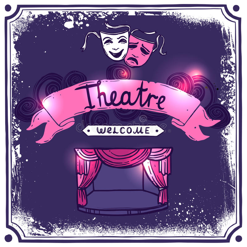 Bosquejo del cartel del teatro stock de ilustración