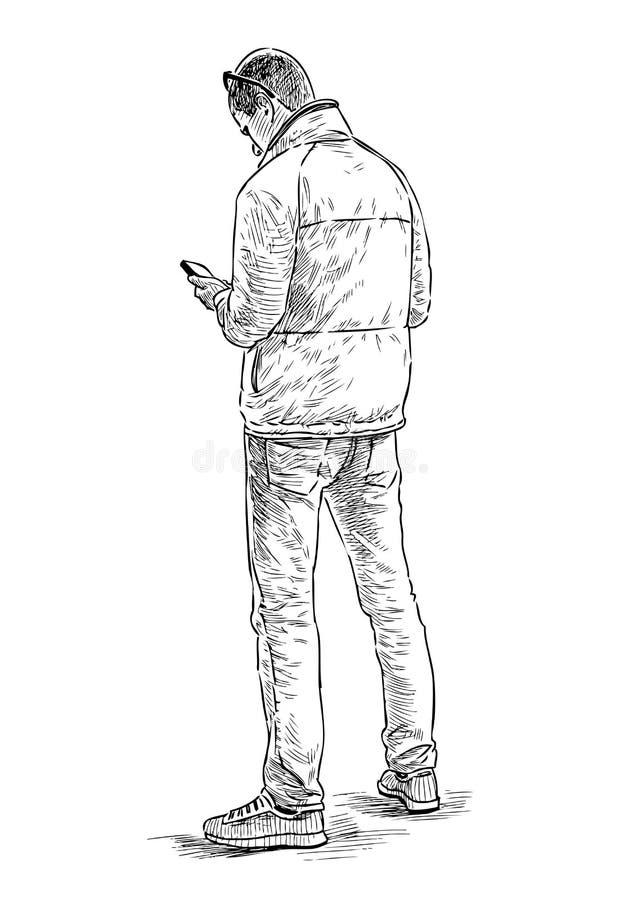 Bosquejo del ciudadano joven con un teléfono celular libre illustration