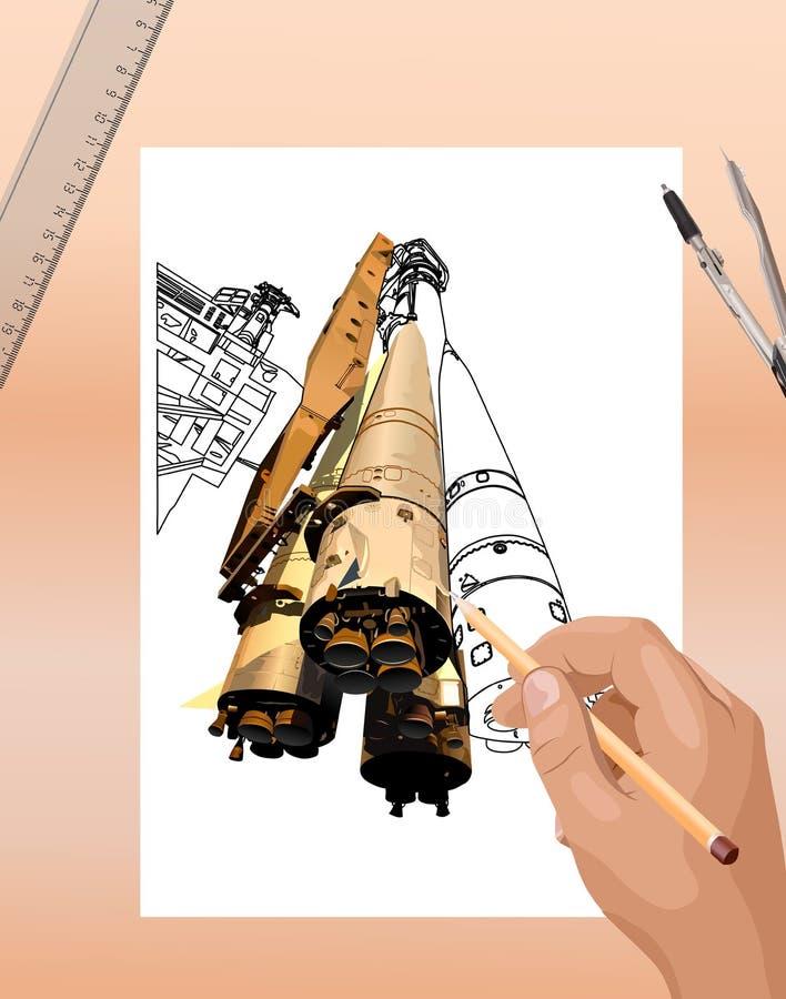 Bosquejo del cohete de espacio stock de ilustración