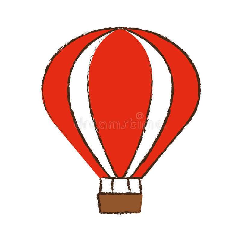 bosquejo del color del viaje de las vacaciones de la reconstrucción del airballoon stock de ilustración