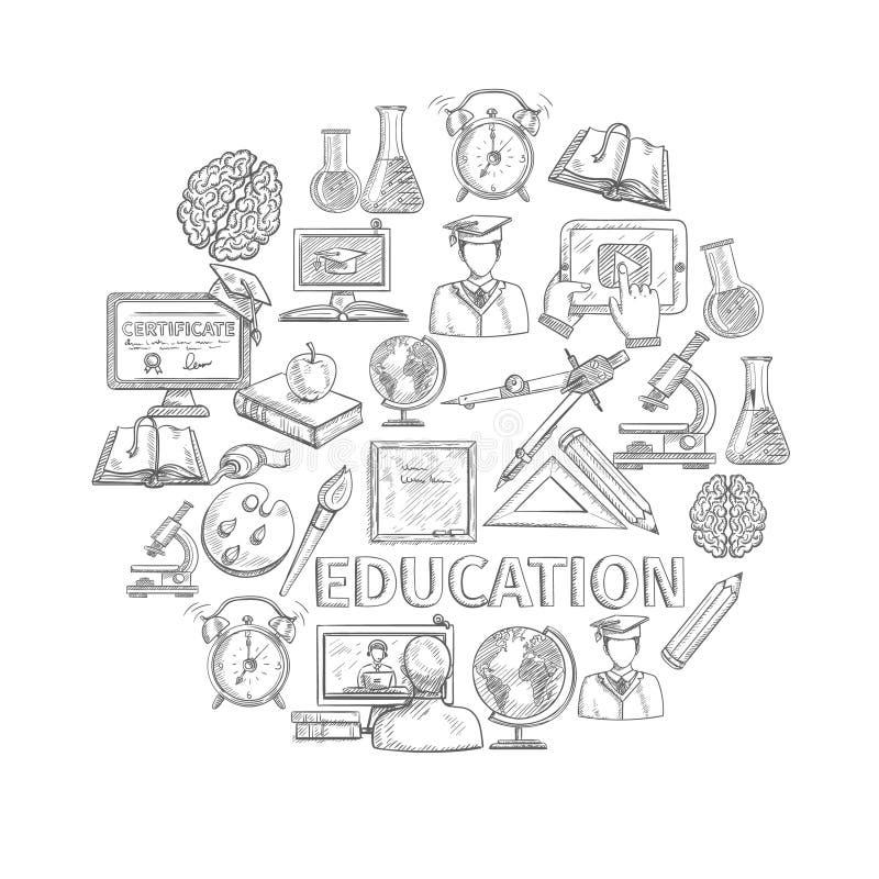 Bosquejo del concepto de la educación stock de ilustración