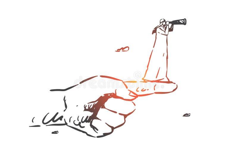 Bosquejo del concepto de la intuición Ejemplo aislado dibujado mano del vector libre illustration
