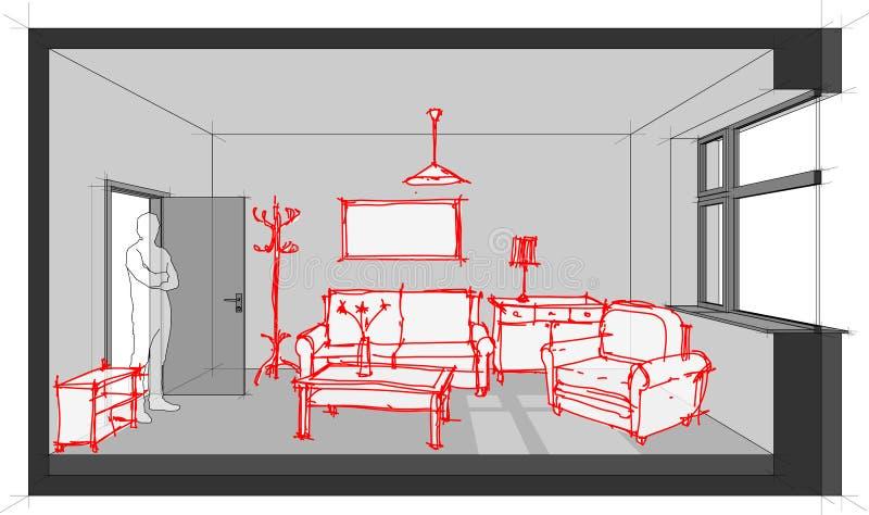 Bosquejo del diagrama equipado de la sala de estar libre illustration