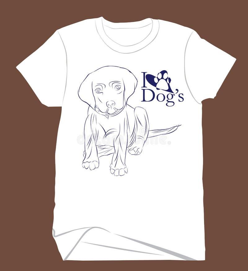 Bosquejo del dibujo de un perro lindo para una camisa del ` s del niño imágenes de archivo libres de regalías