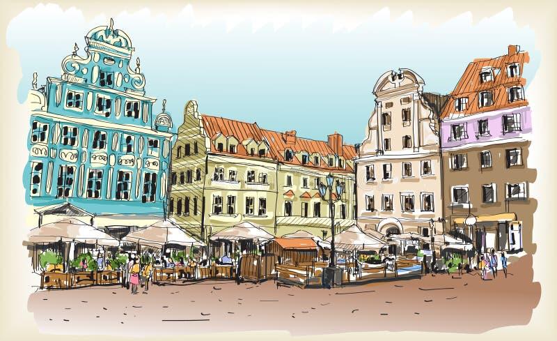 Bosquejo del dibujo del scape de la ciudad en Polonia céntrica libre illustration