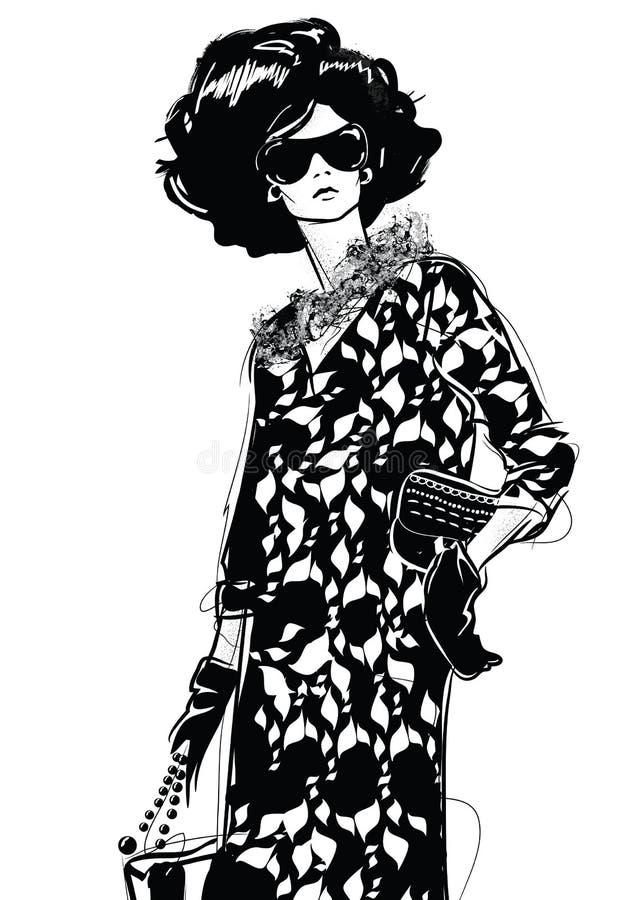Bosquejo del dibujo gráfico con la mujer stock de ilustración