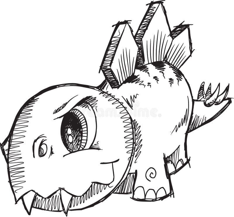 Bosquejo del dinosaurio del Stegosaurus stock de ilustración