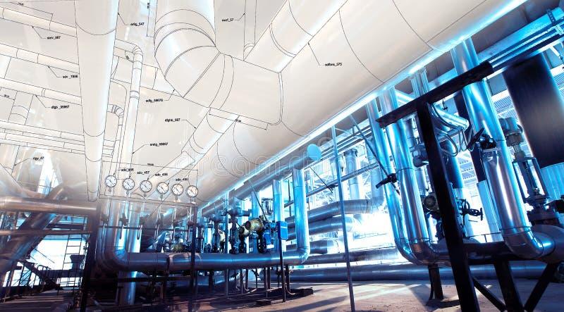 Bosquejo del diseño de la tubería con la foto del equipo industrial fotos de archivo