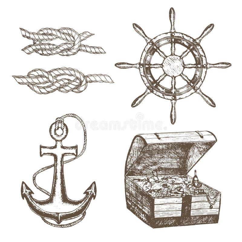 Bosquejo del drenaje de Equipment Set Hand del marinero Vector ilustración del vector