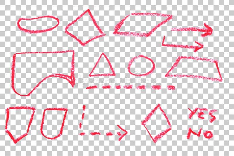 Bosquejo del drenaje de la mano, símbolo de organigrama - creyón rojo libre illustration