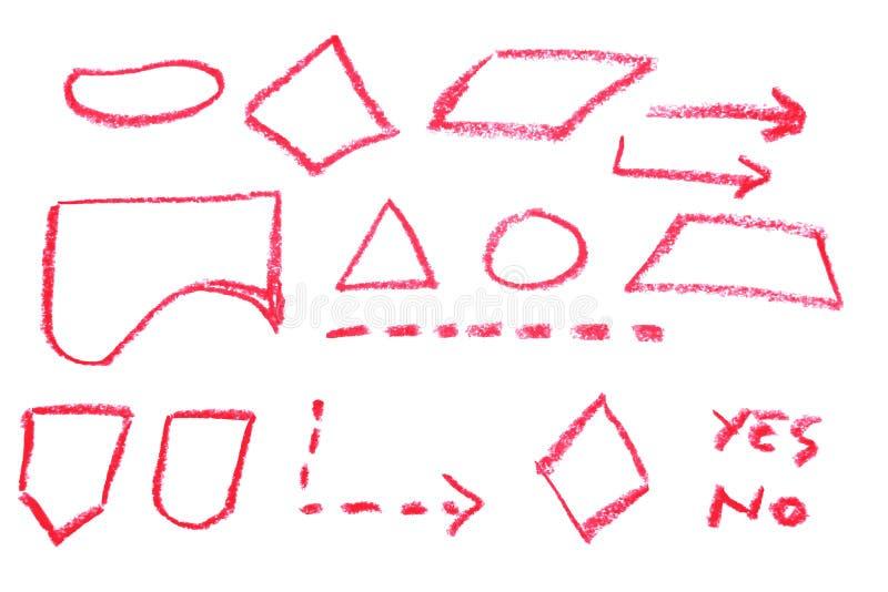 Bosquejo del drenaje de la mano, símbolo de organigrama - creyón rojo stock de ilustración