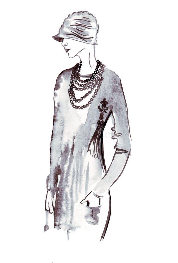 Bosquejo del ejemplo de la hembra en ropa vintage retra de moda stock de ilustración