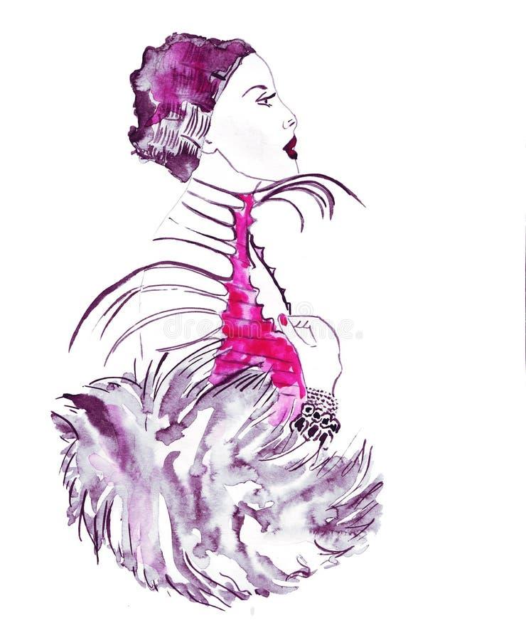 Bosquejo del ejemplo de la moda femenina en diversa ropa, pintado con las pinturas acrílicas brillantes stock de ilustración