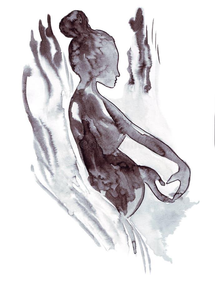 Bosquejo del ejemplo de la moda femenina en diversa ropa, pintado con las pinturas acrílicas brillantes ilustración del vector