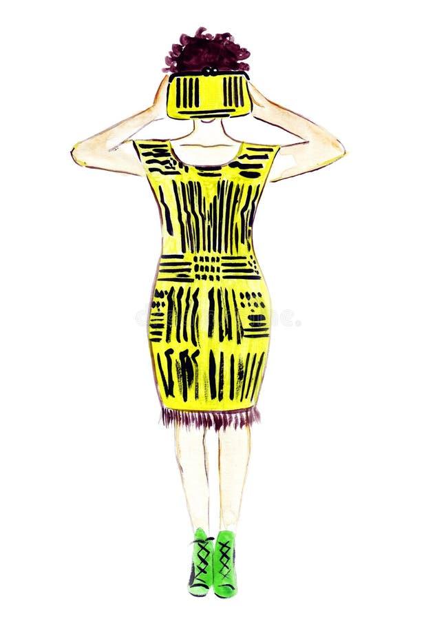 Bosquejo del ejemplo de la moda femenina en un vestido amarillo con un bolso libre illustration