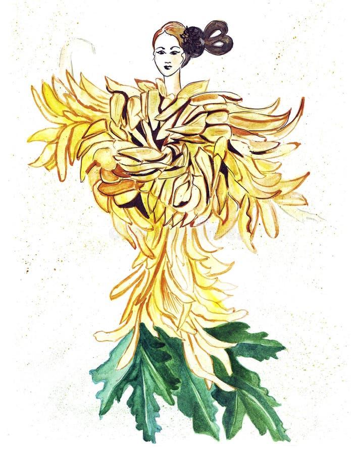 Bosquejo del ejemplo de la silueta femenina en los vestidos creados de flores coloridas stock de ilustración
