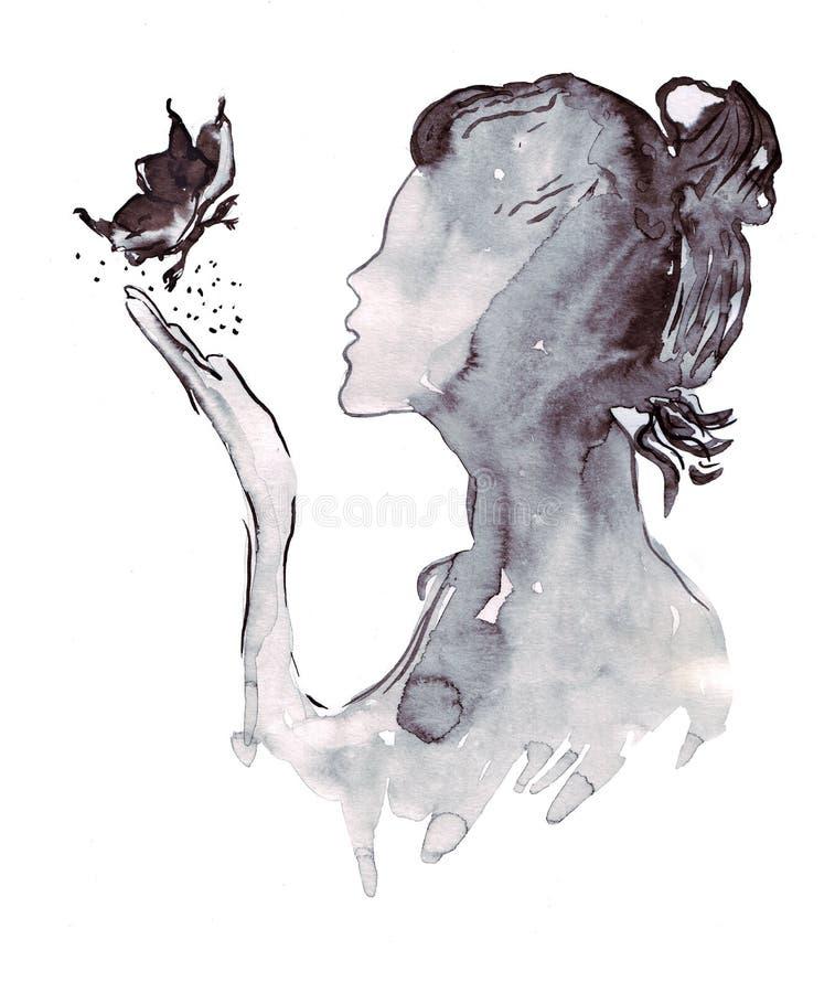 Bosquejo del ejemplo un retrato de una silueta femenina de la moda de una mariposa libre illustration