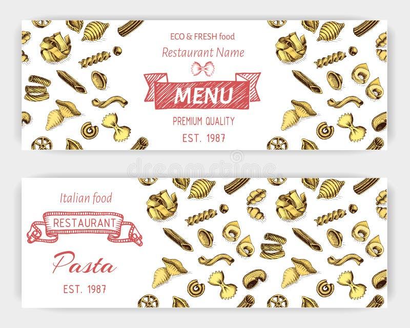 Bosquejo del ejemplo del vector - pastas Comida del italiano de la bandera libre illustration