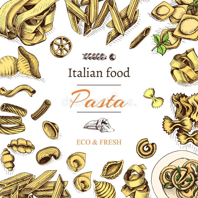 Bosquejo del ejemplo del vector - pastas Comida del italiano de la tarjeta ilustración del vector