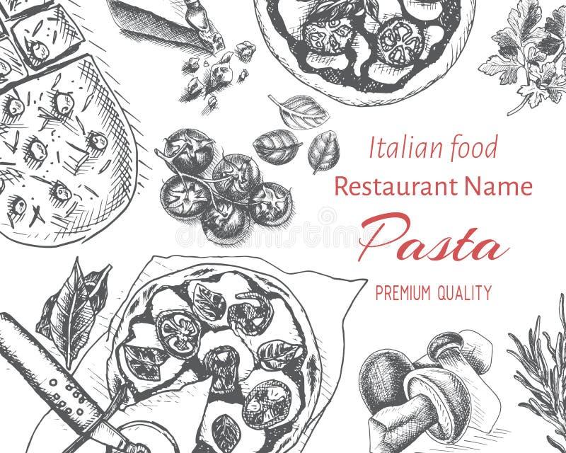 Bosquejo del ejemplo del vector - pastas Resraurant italiano del men? de la tarjeta libre illustration