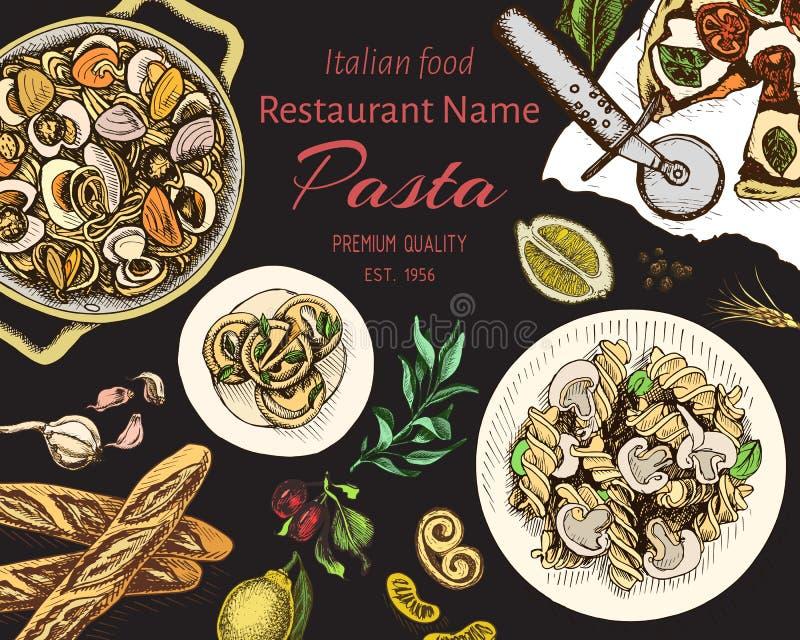 Bosquejo del ejemplo del vector - pastas Resraurant italiano del men? de la tarjeta stock de ilustración