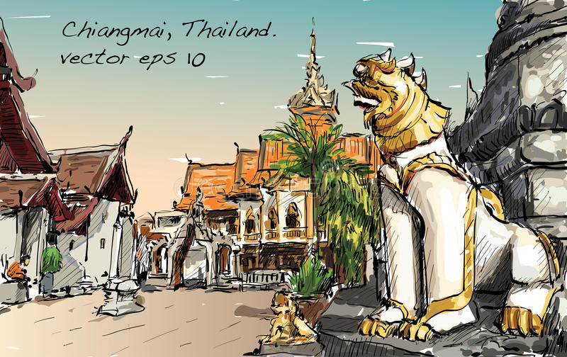 Bosquejo del espacio del templo del estilo de Asia de la demostración del paisaje urbano en Tailandia, IL ilustración del vector