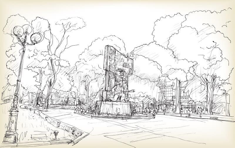 Bosquejo del espacio público de Hanoi del paisaje urbano en el parque de Hang Dau del hoa de Vuon stock de ilustración