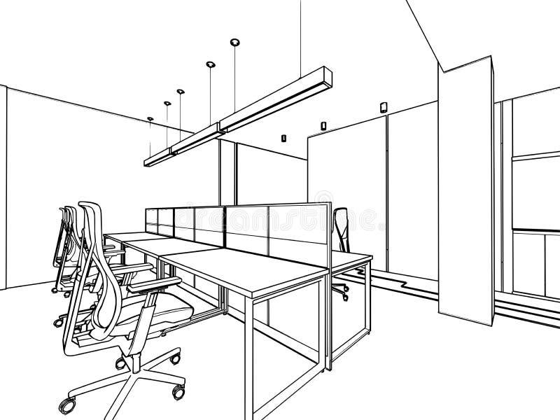 Bosquejo del esquema de un interior stock de ilustración